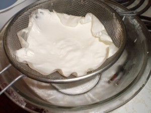 straining yogurt to make it greek...